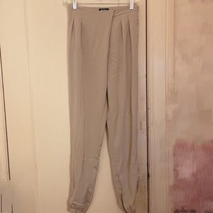 Missguided Taupe Tapered Joggers Size 8